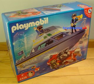 Playmobil Police Boat Set SHIP Motor Dinghy 4061 New