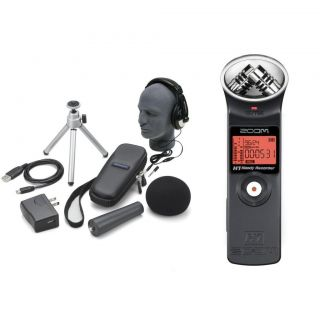 ZOOM PORTABLE DIGITAL RECORDER STUDIO MIC W/ ACCESSORIES BUNDLE AND