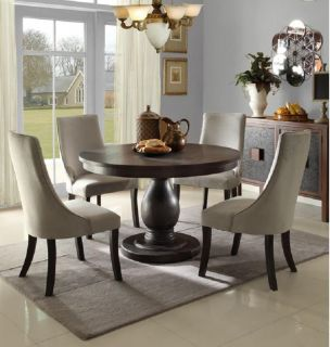 Casual Pedestal Dining Table Chairs Dining Room Furniture Set