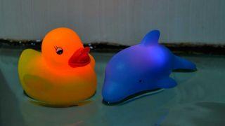 2pcs Baby Bath Fun LED Flashing Duck Dolphin Toy Rubber