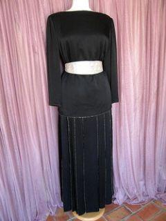 Donald Brooks Vtg Satin Beaded Tunic Skirt Dress Gown M