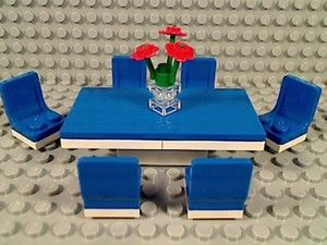 LEGO Blue SIX SEAT DINING ROOM TABLE & CHAIRS Kitchen Food Formal