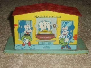 Disney Prod Bank Mechanical 1950s J Chein Works Mickey Mouse Donal