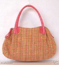 Donna Dixon Handbag Tote Woven Purse Alligator Print