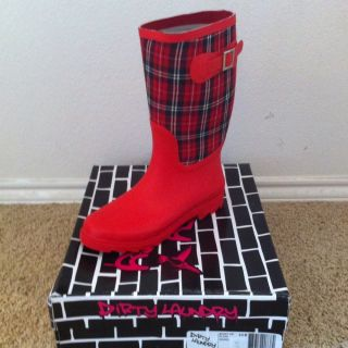 Dirty Laundry Rain Boots, Rubber Boots, Wellies Size 9