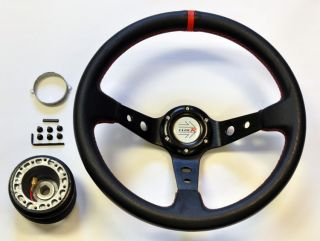 35CM Deep Dish Racing Steering Wheel w/ Boss Kit Hub Adapter