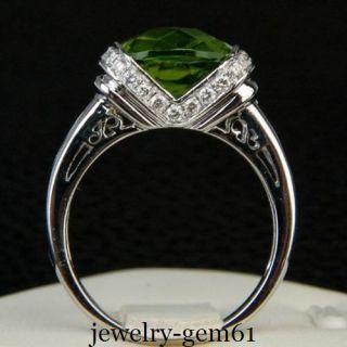 Cut 9 9mm Solid 14kt White Gold vs Natural Diamond Peridot Ring
