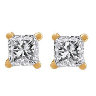 50 Ct Princess Cut 14k Yellow Gold Diamond Stud Earrings