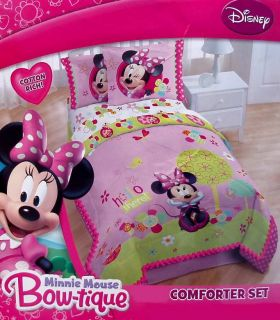 Disney Minnie Mouse Bow Pink Full Comforter Shams Bedskirt 4pc Bedding
