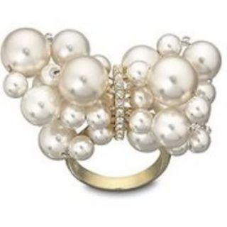 Swarovski Swan Signed Crystal Pearl Donatella Ring 8 Large 58
