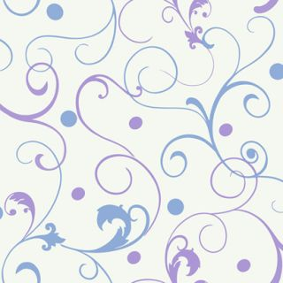 / Purple Blue Scroll Polka Dot Girls Wallpaper / White Background