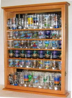 LARGE 72 Shot Glass Display Case Rack Holder Cabinet, Glass Door