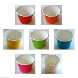 Disposable Paper Ice Cream Cups or Bowls and Lids Party or Wedding 16