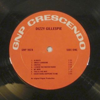 DIZZY GILLESPIE Dizzy 1974 Crescendo LP GNP 9028 NM