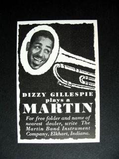 Martin Trumpet Dizzy Gillespie 1953 Print Ad