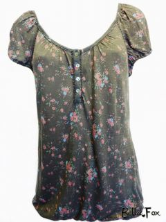 New DOTTI long Top Blouse sz S 8 10 Tshirt Retro Style Flower Pattern