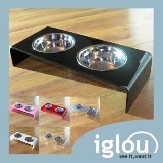 Modern Designer Acrylic Pet Dog or Cat Double Feeding Bowl Exclusive