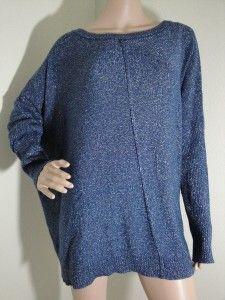 DKNYC Womens Plus Size Long Sleeve Metallic Twilight Blue Sweater Size