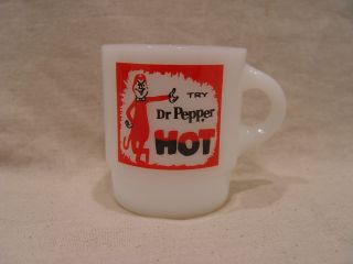 Fire King Try Dr Pepper Hot Soda Devil Advertising Stackable Coffee