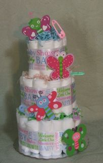 Tier Diaper Cake BUTTERFLIES Baby Shower Centerpiece Girl or Boy
