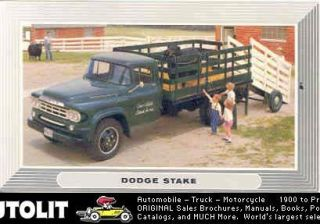 1959 Dodge D400 Stake Truck Factory Postcard
