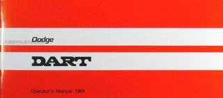 1969 Dodge Dart Owners Manual 69 Owner Operator Guide Book Swinger GT