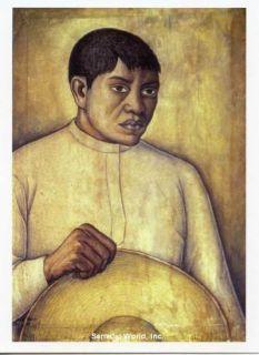 Diego Rivera Art Postcard Mexican Man Peasant Sombrero