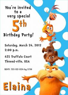 Dr Seuss The Lorax Birthday Party Invitation Multiple Designs