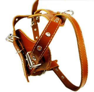 Leather Dog Harness 18 22 Black Small French Bulldog