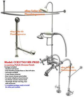 Clawfoot Tub Faucet Supply Lines Drain w Shower Riser Enclosure
