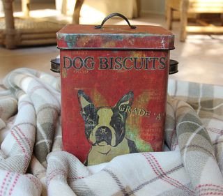 Boston Terrier Dog Treat Tin Box Bucket Shabby Cottage Chic