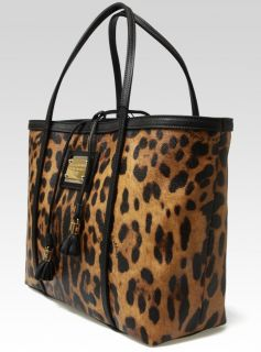 Dolce & Gabbana Miss Escape Leopard Tote Handbag Purse in Leather NEW