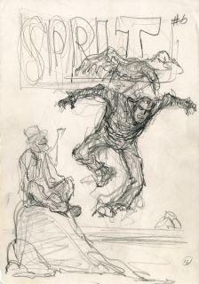 Will Eisner The Spirit Original Preliminary Cover Drawing