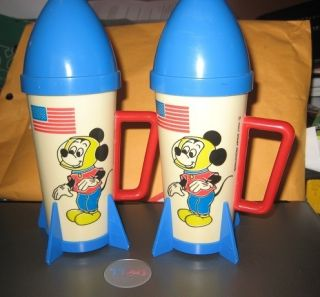 RARE Disney Mickey Mouse Rocket SHIP Glasses Set of 2