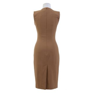 Dsquared Wool Brown Stretch Bow Decorated Dress US s EU 40