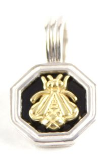 New Slane and Slane Small 18K Yellow Gold Silver Black Enamel Bee