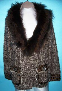 New Dolce Cabo Brown Fur Leopard Designer $239 Sweater Coat Jacket