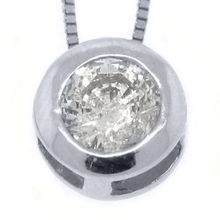 Womens Solitaire Brilliant Round Cut Diamond Pendant 14kt White Gold
