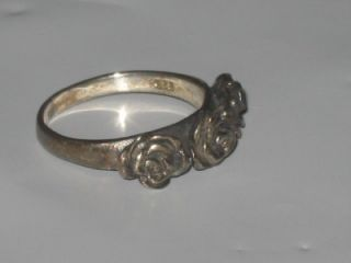 Vintage Antique Sterling Silver Rose Ring 925 Texas Witch Estate