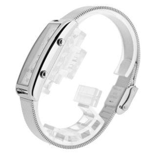 skagen 20sssmp ladies rectangular dual time watch w mesh strap £ 125