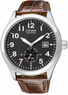 Citizen Sub Second Eco Drive Black Dial Brown Leather Mens Watch