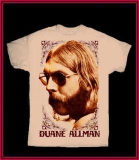 DUANE ALLMAN tan T SHIRT CLASSIC ROCK Brothers 60s ROCK 70s SLIDE