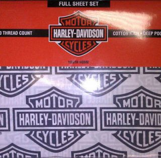 Harley Davidson Flame Rider Full Sheet Bedding Set