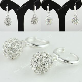 Pair Silver Pave Crystal Disco Ball Charm Bead Dangle Earrings