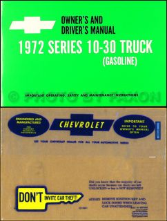 1972 Chevrolet Truck Owners Manual with Envelope 72 Chevy Pickup