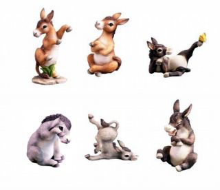 Donkey Set of 6 Animal Figurines Lifelike Statue Cute