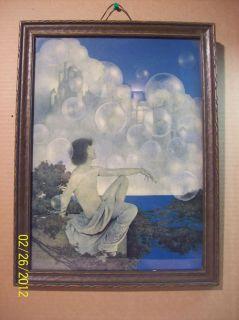 antique MAXFIELD PARRISH ORIG AIR CASTLES VIVID ART DECO PRINT SEALED