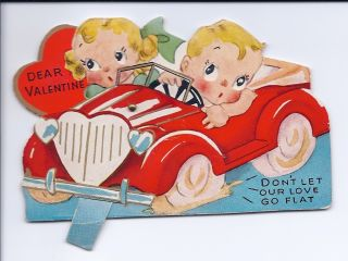 Vintage Die Cut Valentine Card DonT Let Our Love Go Flat Jointed