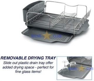 Dish Rack Stainless Steel Kitchen Plate Drying Drainer Tray Cup Holder