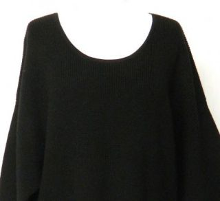 DKNY Donna Karan Size L Black MERINO Wool SWEATER Ribbed Dress